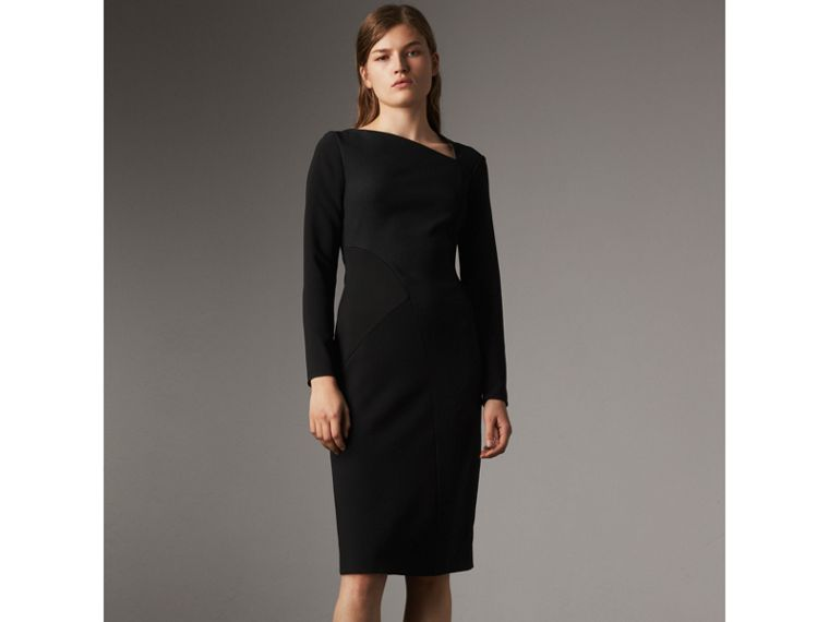 Slash-neck Panelled Dress in Black - Women | Burberry - cell image 4