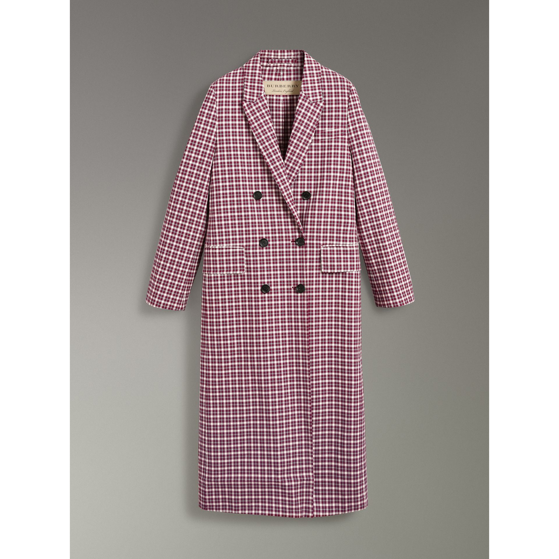 Double-faced Cotton Twill Tailored Coat in Burgundy - Women | Burberry - gallery image 3