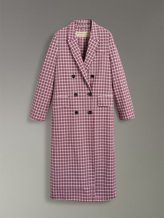 Double-faced Cotton Twill Tailored Coat in Burgundy - Women | Burberry Hong Kong - cell image 3
