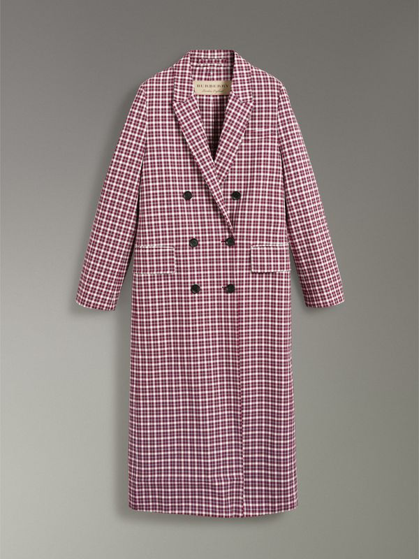 Double-faced Cotton Twill Tailored Coat in Burgundy - Women | Burberry - cell image 3