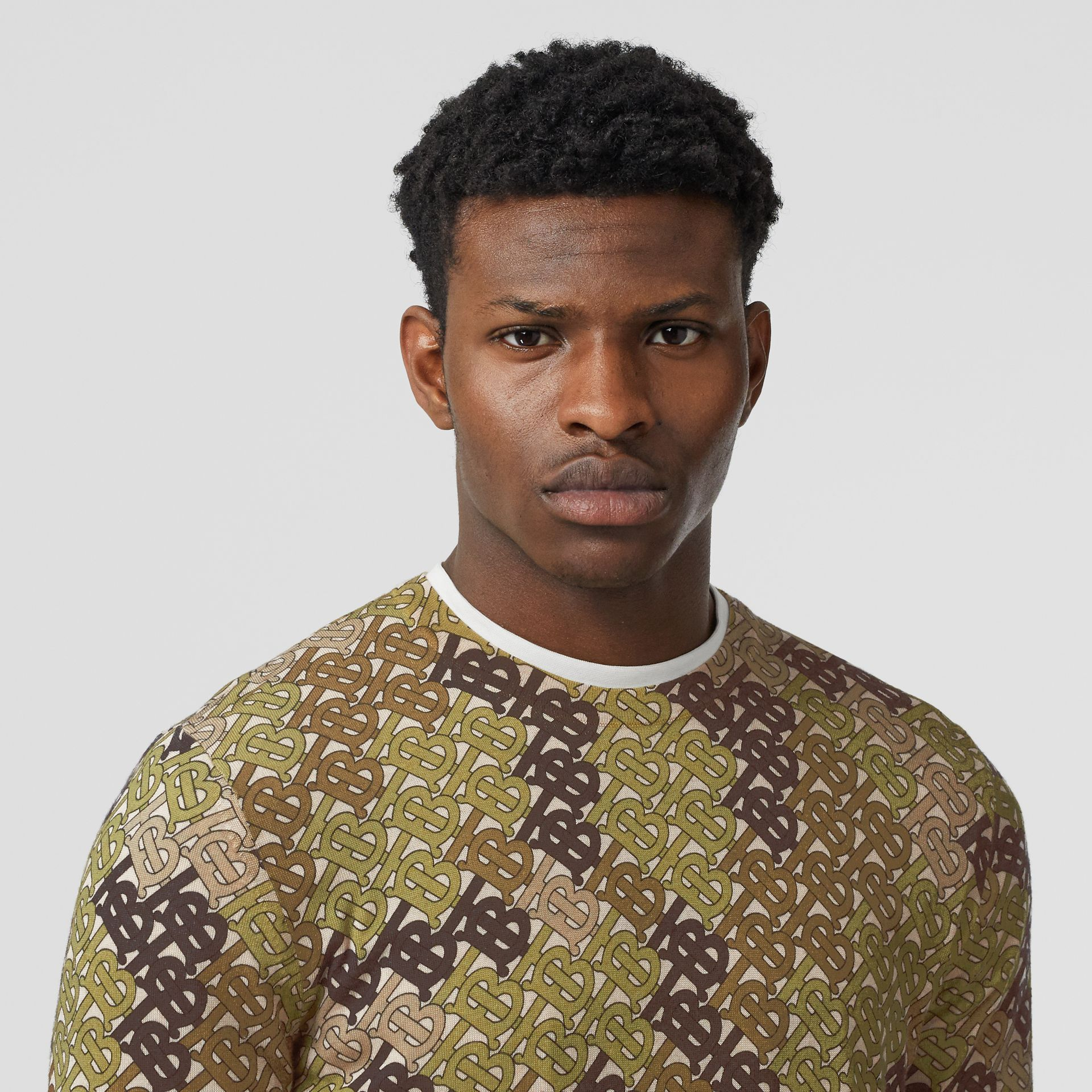 Monogram Print Merino Wool Sweater in Khaki - Men | Burberry - gallery image 1