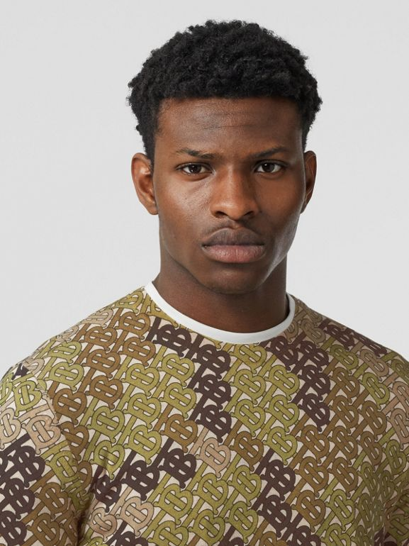 Monogram Print Merino Wool Sweater in Khaki - Men | Burberry United Kingdom - cell image 1