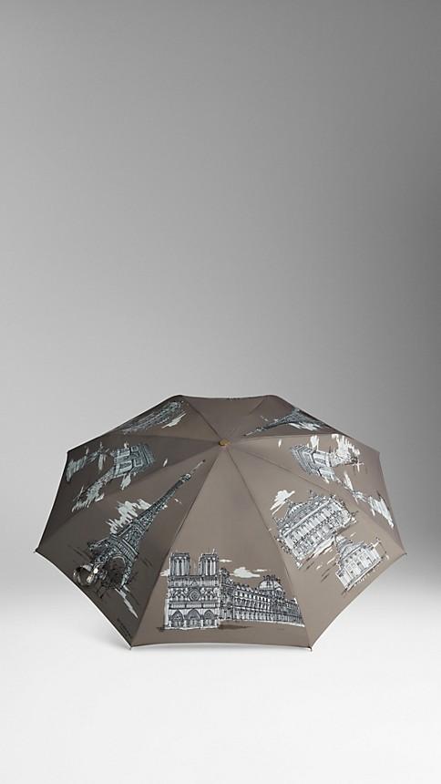 Taupe grey Paris Landmarks Folding Umbrella - Image 3