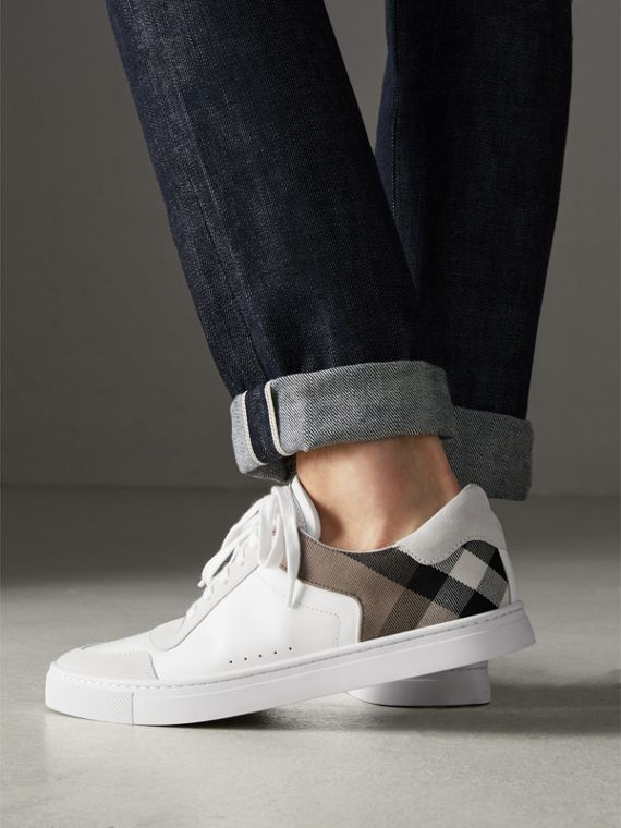 Leather and House Check Sneakers in Optic White - Men | Burberry Australia - cell image 2