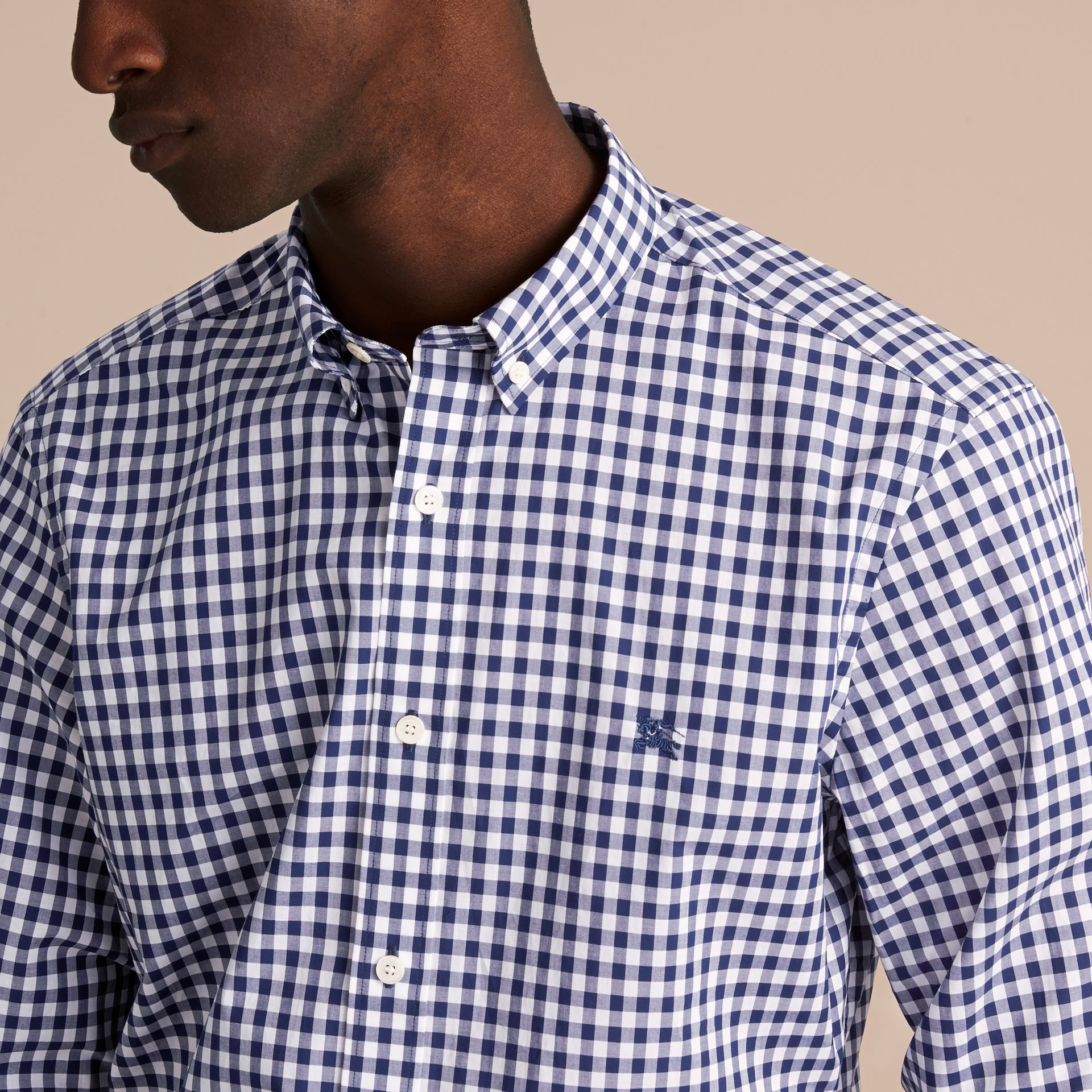 Button-down Collar Gingham Cotton Shirt in Navy - Men | Burberry - gallery image 5