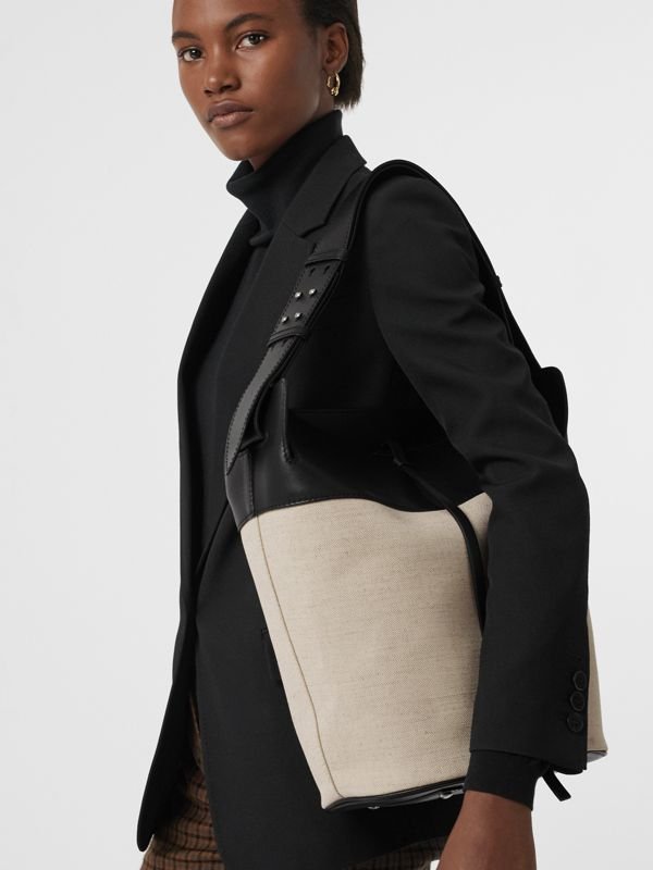 The Large Cotton Linen and Leather Bucket Bag in Black - Women | Burberry United Kingdom - cell image 3