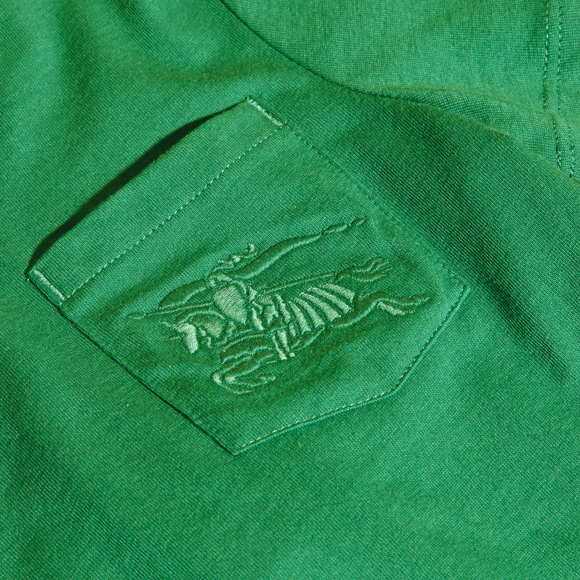 Crew Neck Cotton T-shirt in Bright Pigment Green - gallery image 2