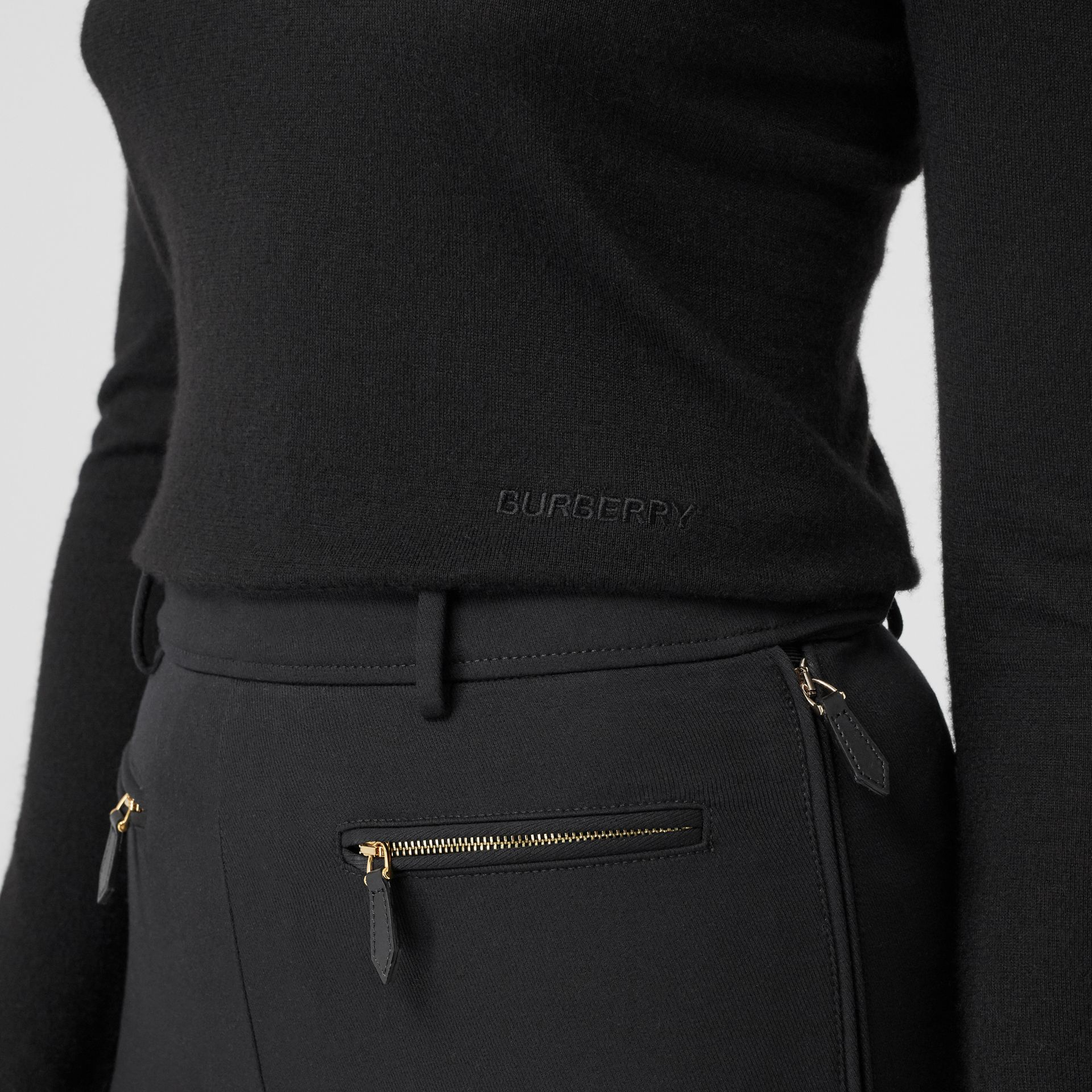 Logo Embroidered Cashmere Silk Roll-neck Sweater in Black - Women | Burberry Canada - gallery image 1