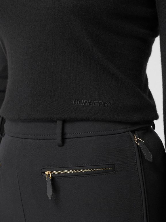 Logo Embroidered Cashmere Silk Roll-neck Sweater in Black - Women | Burberry Canada - cell image 1