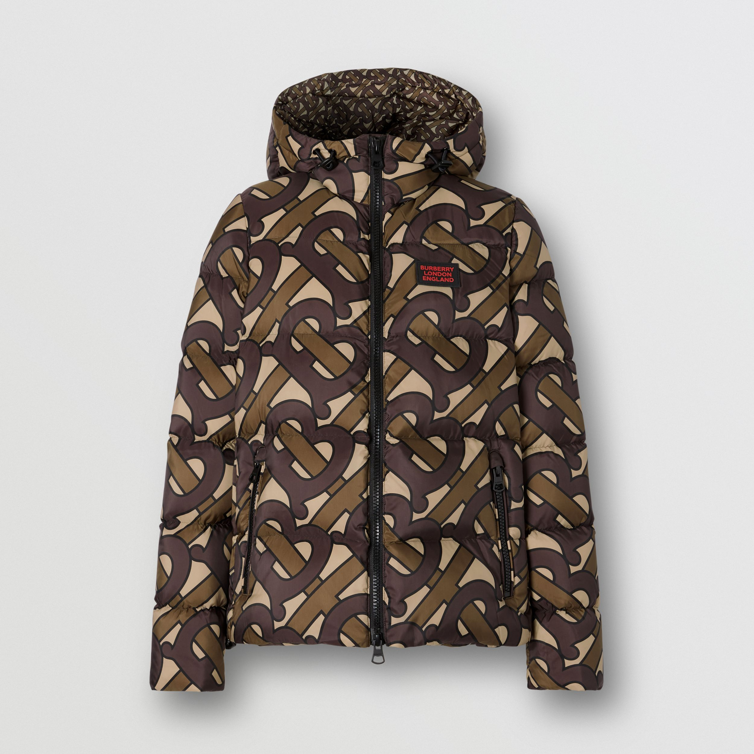 Monogram Print Hooded Puffer Jacket in Bridle Brown - Women | Burberry - 4
