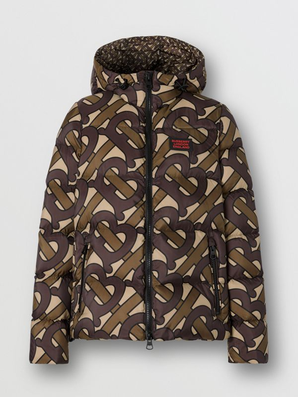 Monogram Print Hooded Puffer Jacket in Bridle Brown - Women | Burberry Singapore - cell image 3