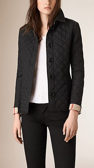 Diamond Quilted Jacket Black