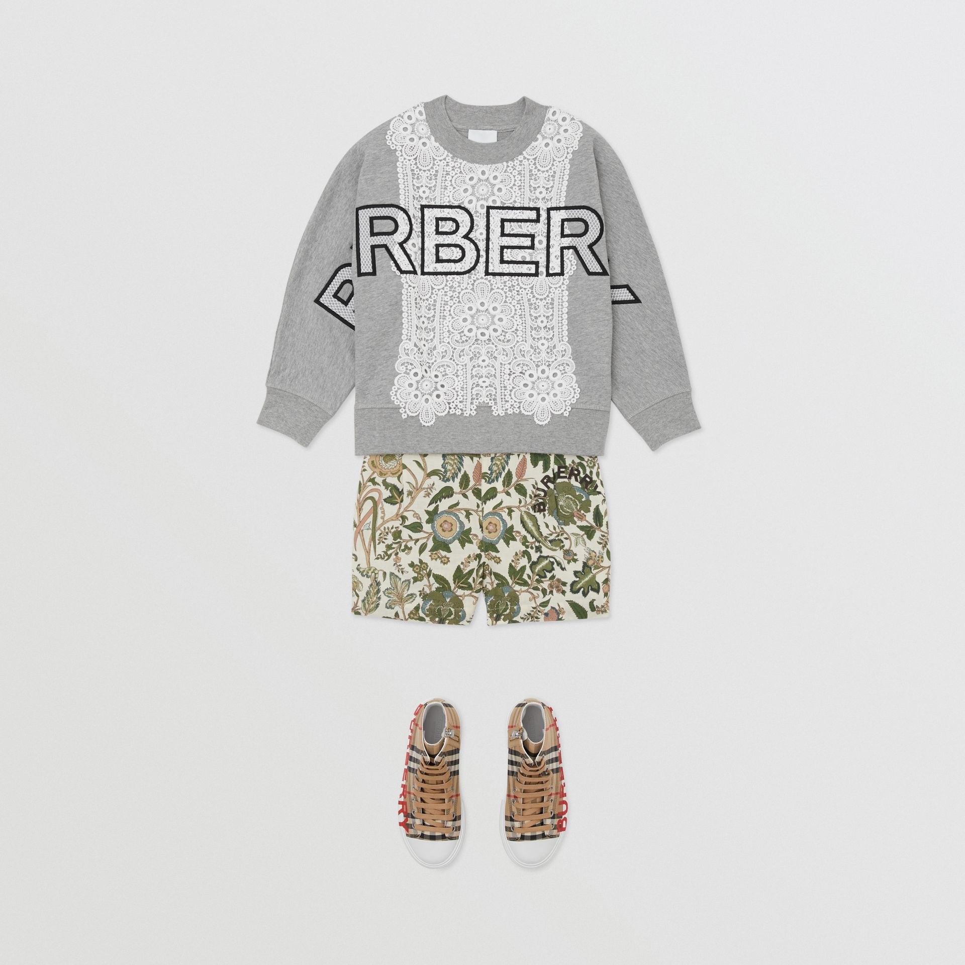 Logo Embroidered Lace Panel Cotton Sweatshirt in Grey Melange | Burberry - gallery image 2