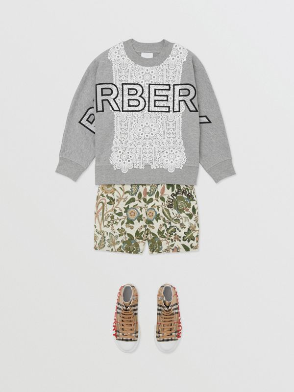 Logo Embroidered Lace Panel Cotton Sweatshirt in Grey Melange | Burberry - cell image 2