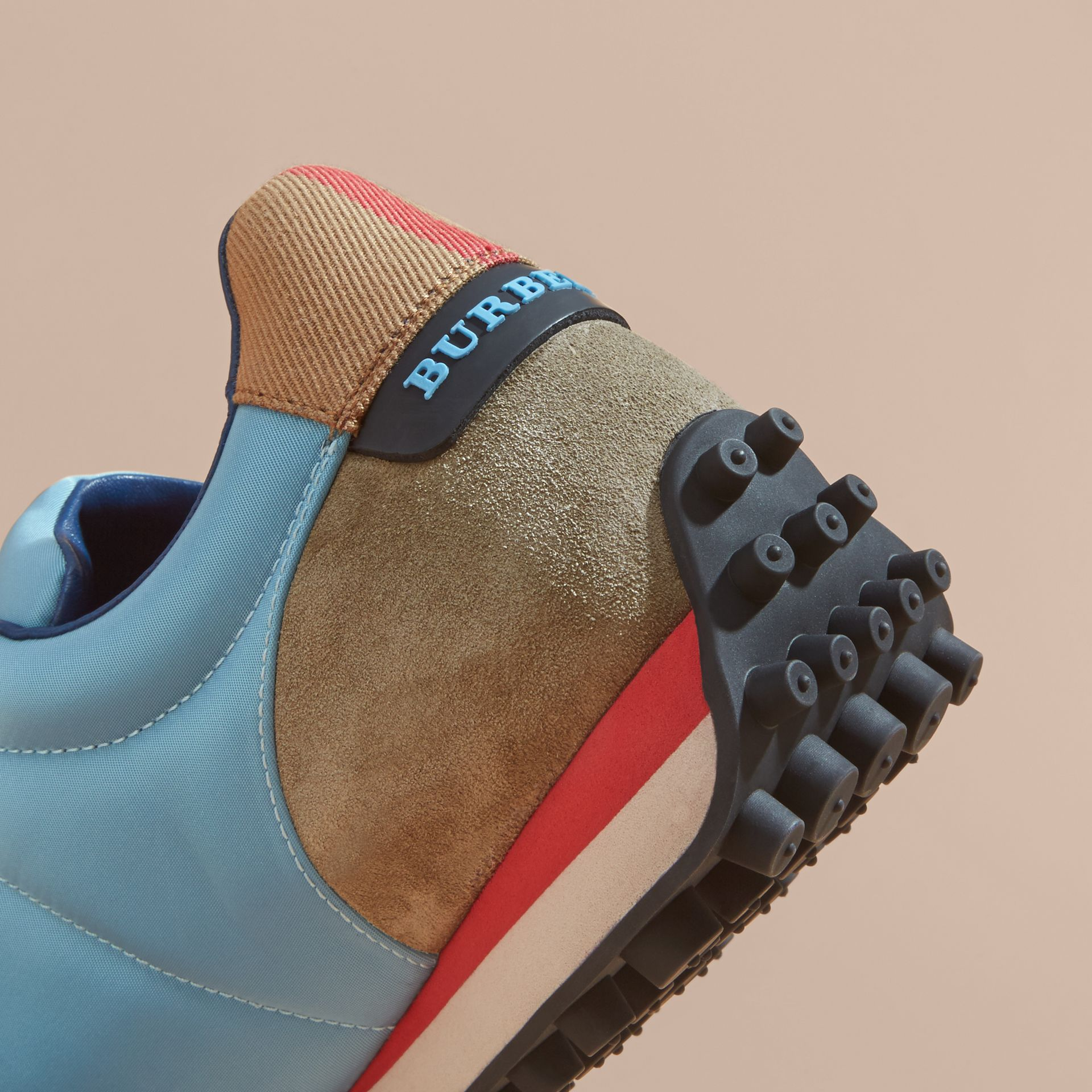 House Check Trim Suede and Technical Satin Sneakers Light Taupe Brown/powder Blue - gallery image 2