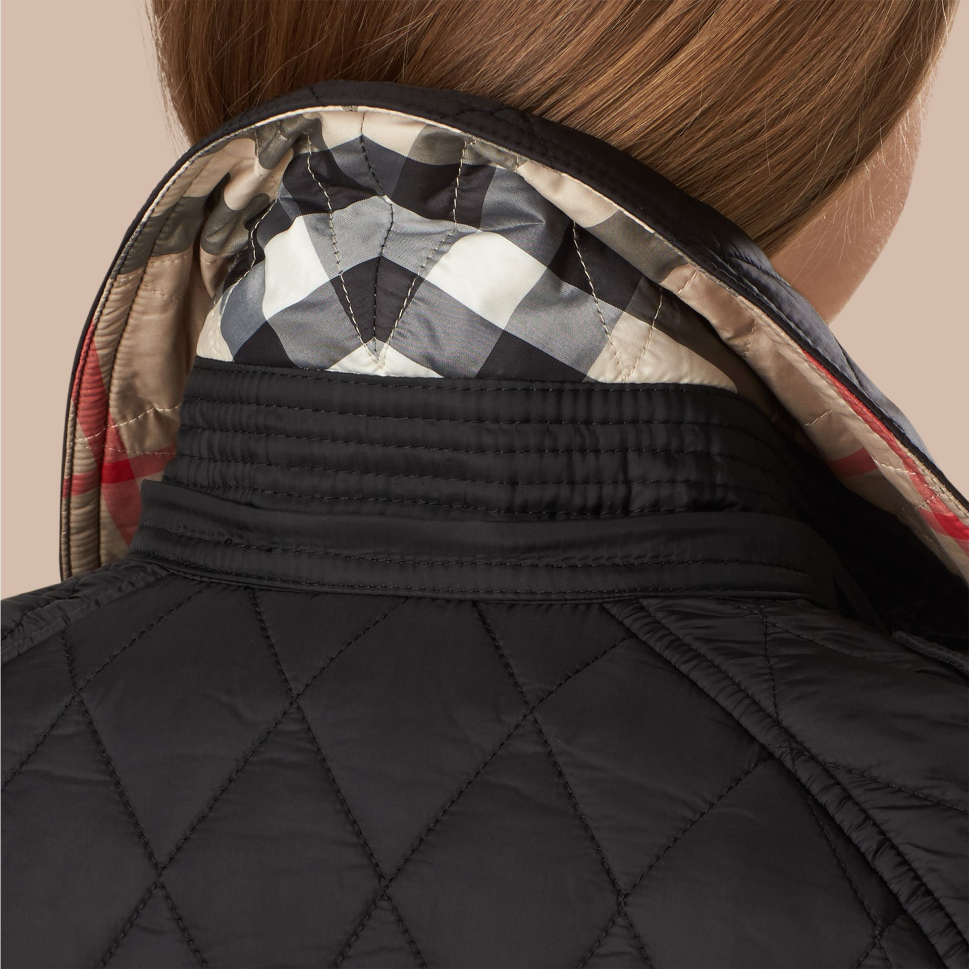 Quilted Trench Jacket with Detachable Hood in Black - gallery image 2