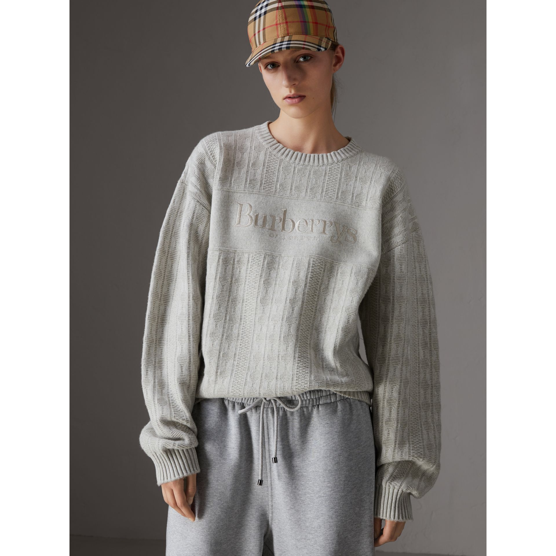 Reissued Lambswool Cotton Sweater in Light Grey Melange - Women | Burberry - gallery image 4