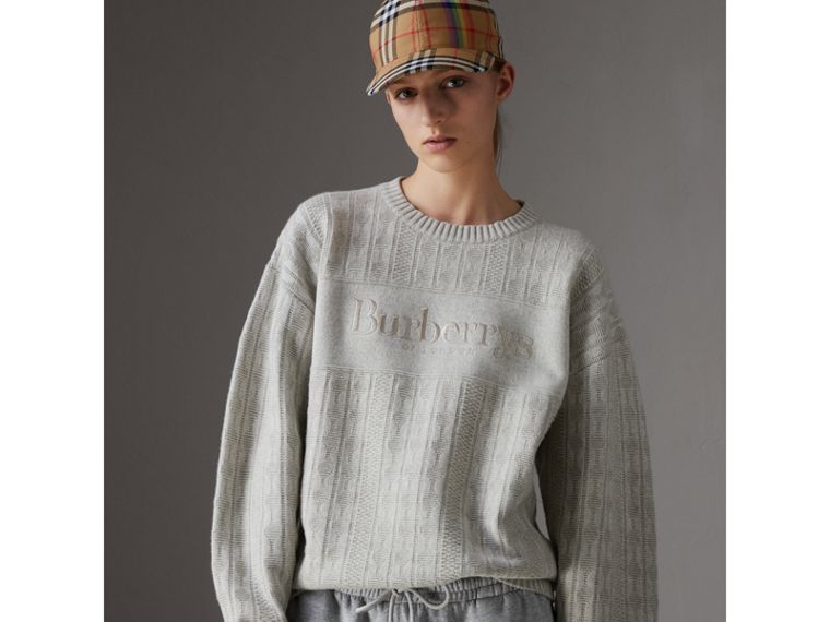 Reissued Lambswool Cotton Sweater in Light Grey Melange - Women | Burberry - cell image 4