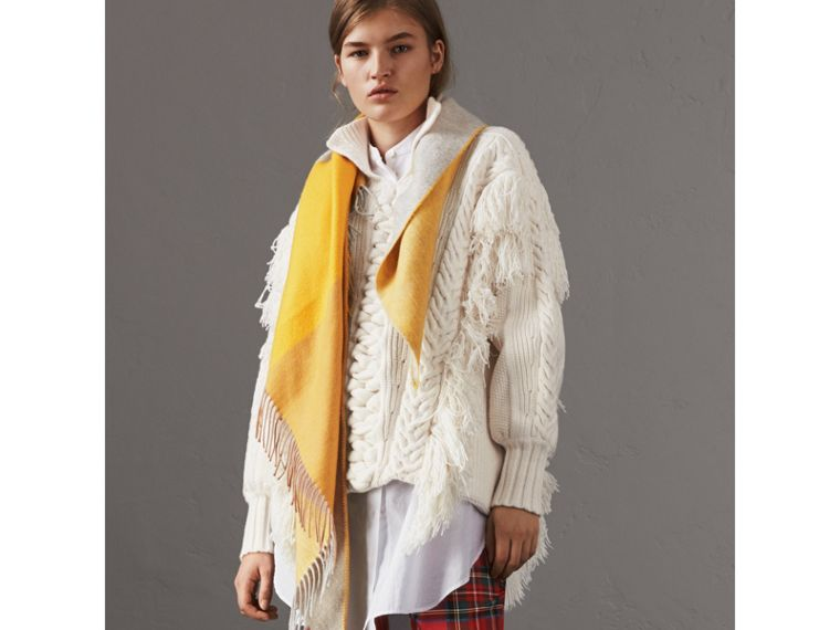 The Burberry Bandana in Striped Cashmere in Gorse Yellow | Burberry United Kingdom - cell image 4