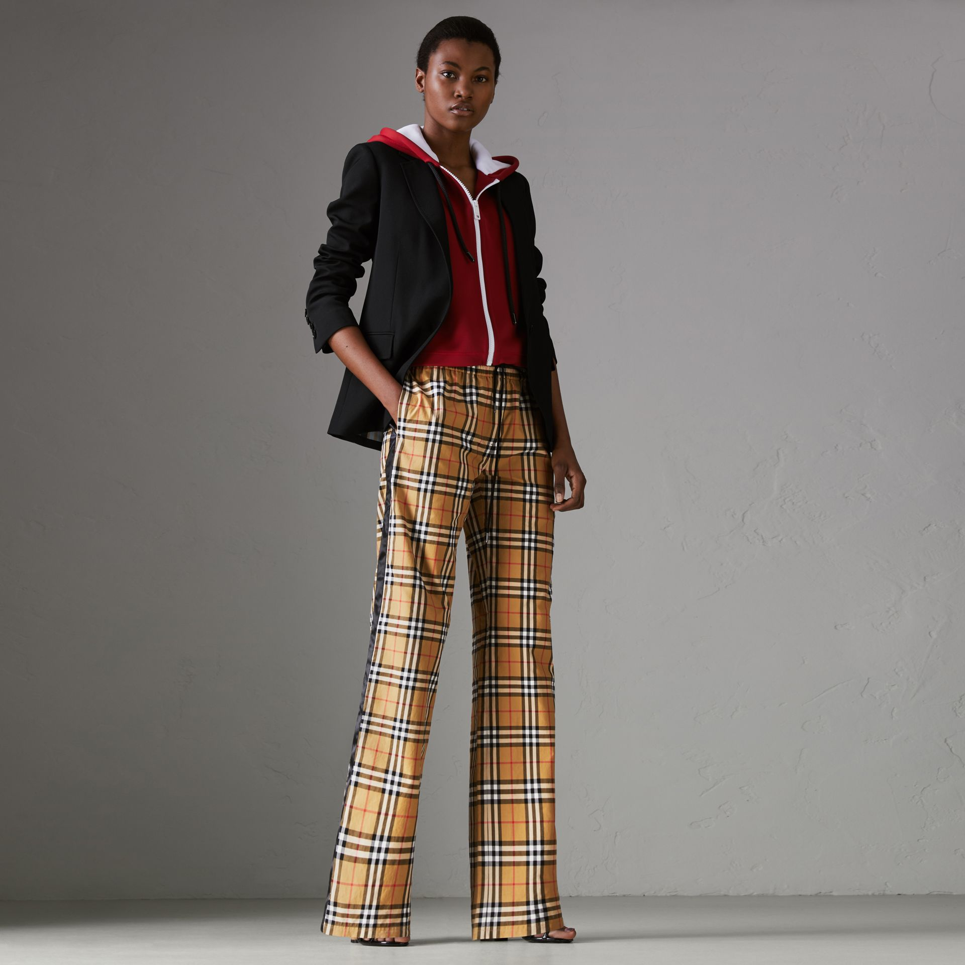 Vintage Check Drawcord Trousers in Antique Yellow - Women | Burberry Hong Kong - gallery image 0