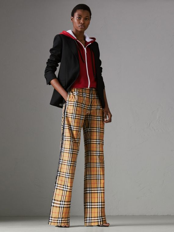 Vintage Check Drawcord Trousers in Antique Yellow