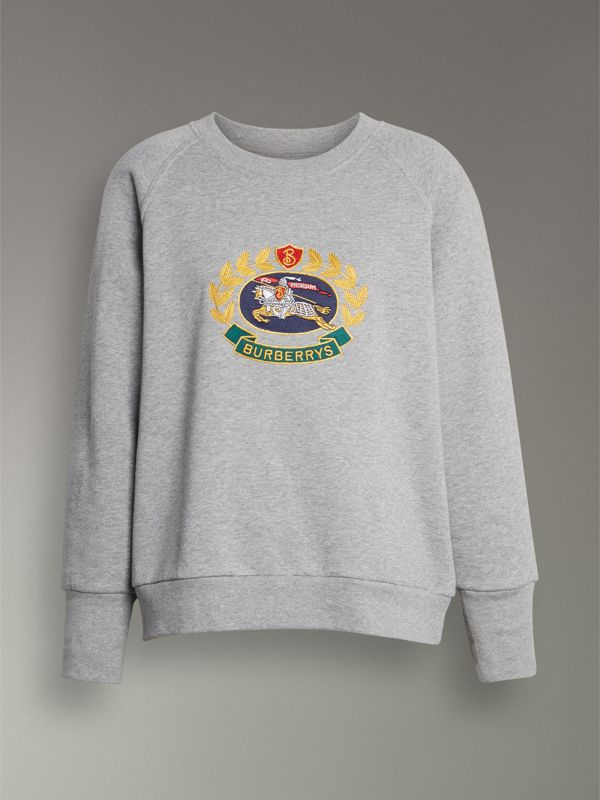 Embroidered Archive Logo Cotton Blend Sweatshirt in Pale Grey Melange - Women | Burberry United Kingdom - cell image 3