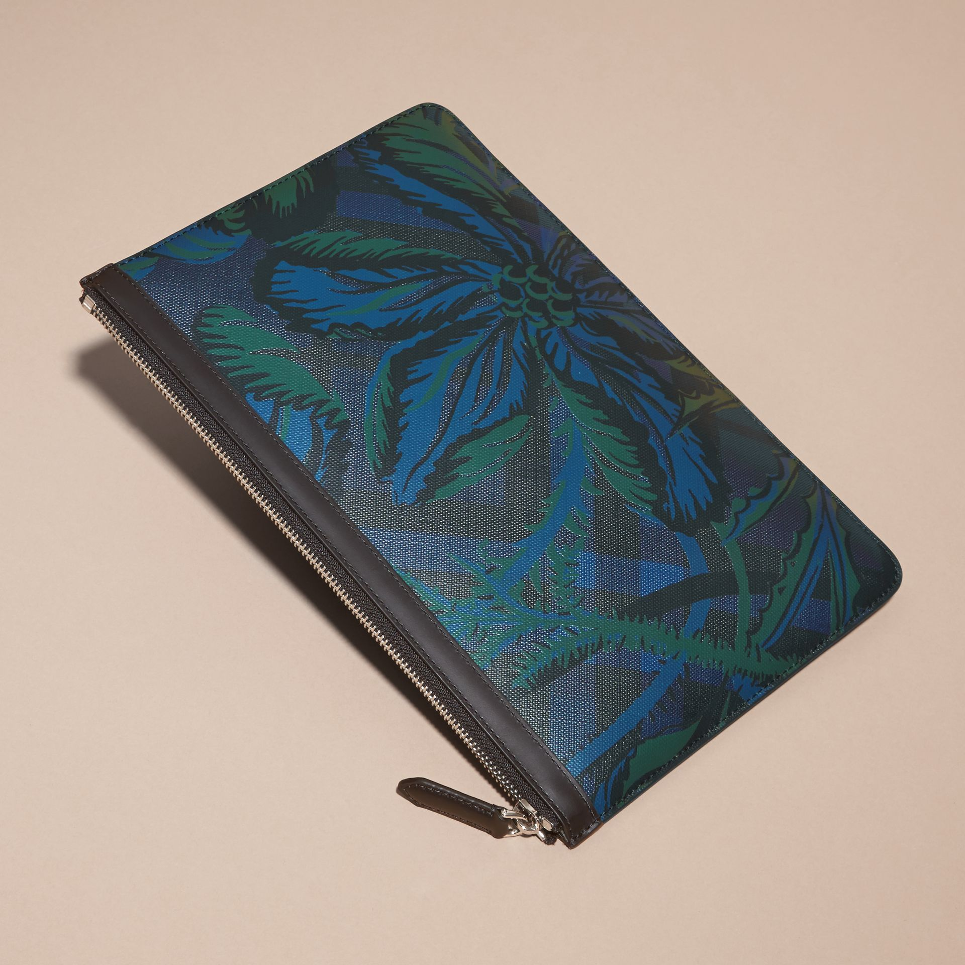 Floral Print London Check Pouch Navy - gallery image 3