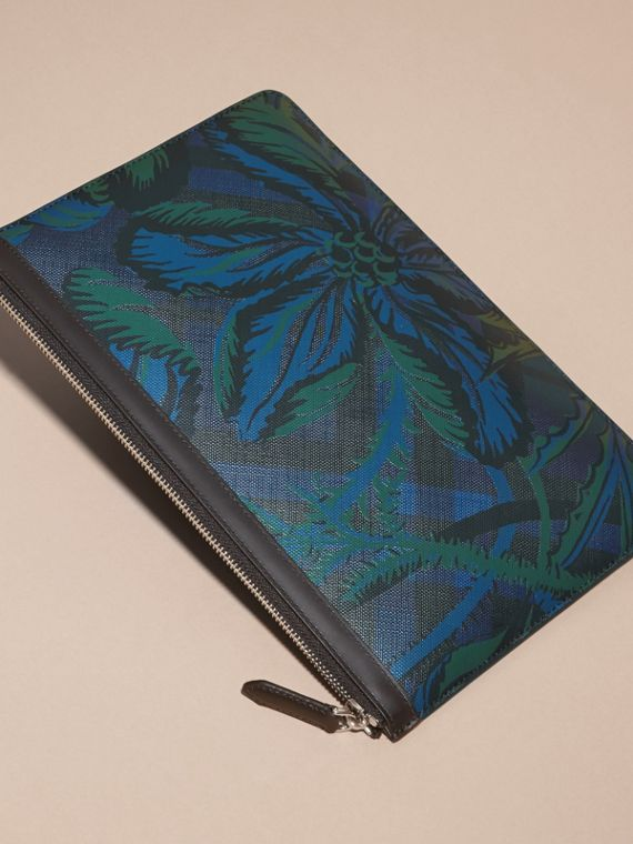 Floral Print London Check Pouch Navy - cell image 2