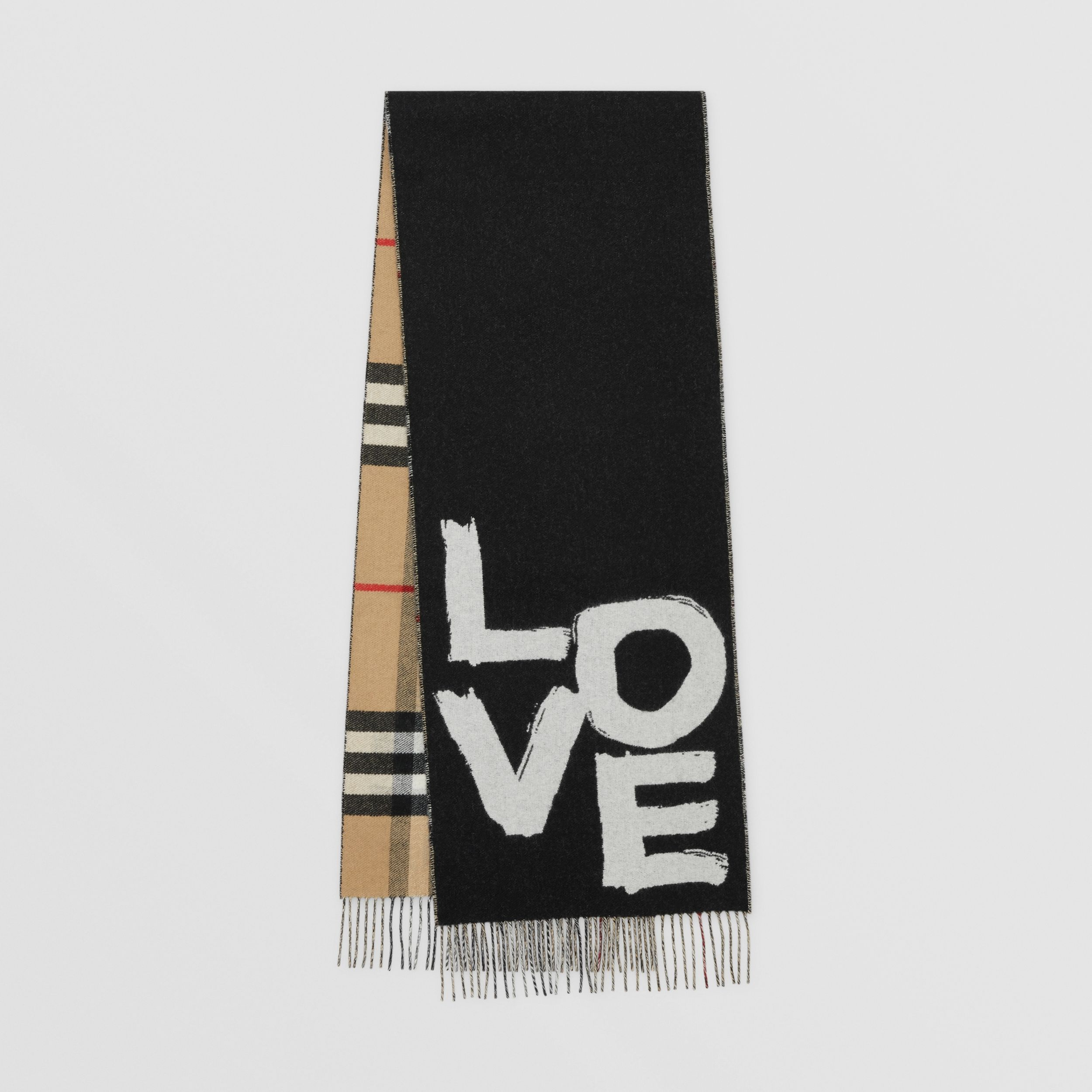Love and Check Cashmere Jacquard Scarf in Black | Burberry - 1