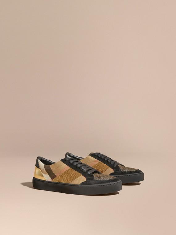 Sneaker con motivo House check, paillettes e pelle Check/oro