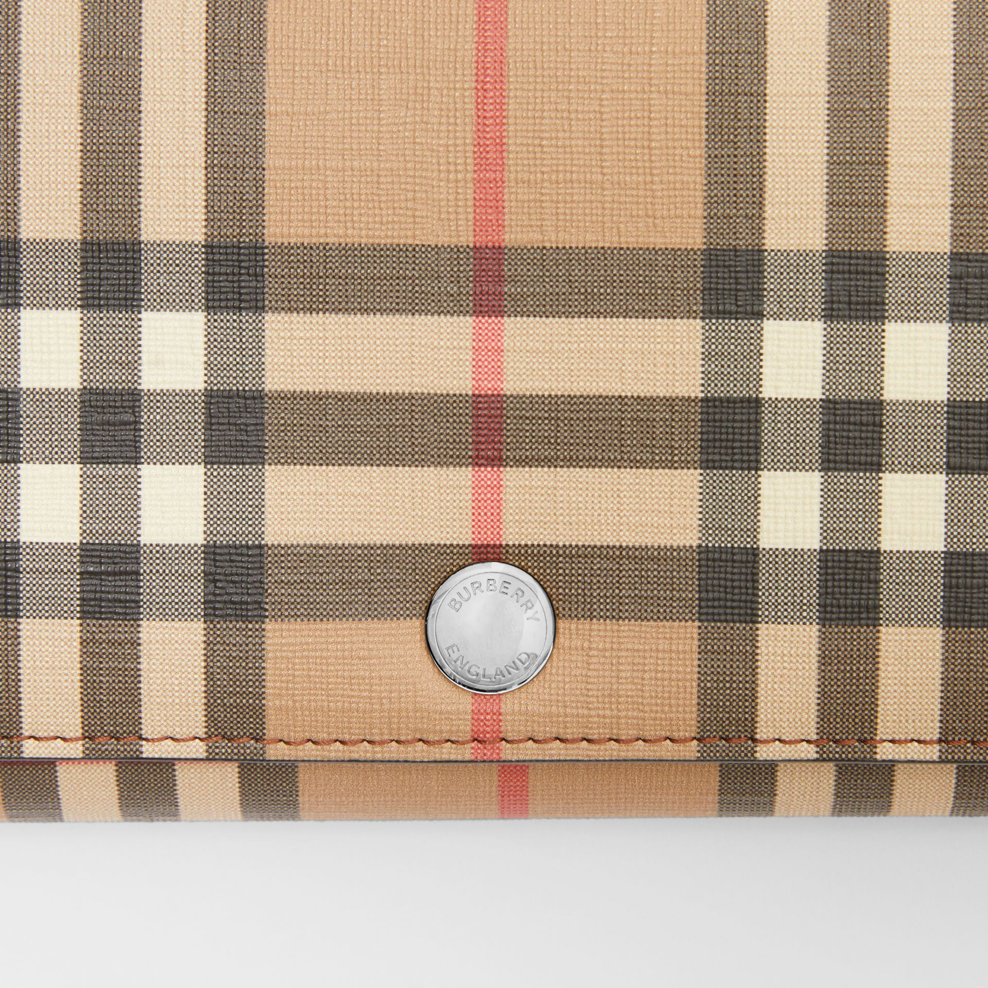 Vintage Check E-canvas Wallet with Detachable Strap in Malt Brown - Women | Burberry - gallery image 1