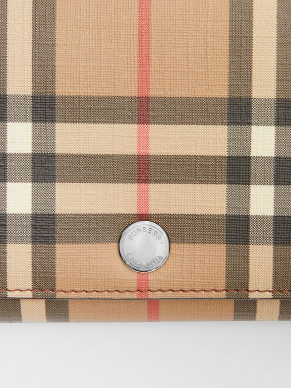 Vintage Check E-canvas Wallet with Detachable Strap in Malt Brown - Women | Burberry - cell image 1