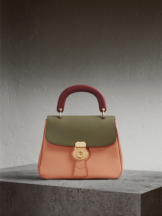 The Medium DK88 Top Handle Bag in Pale Clementine/moss Green