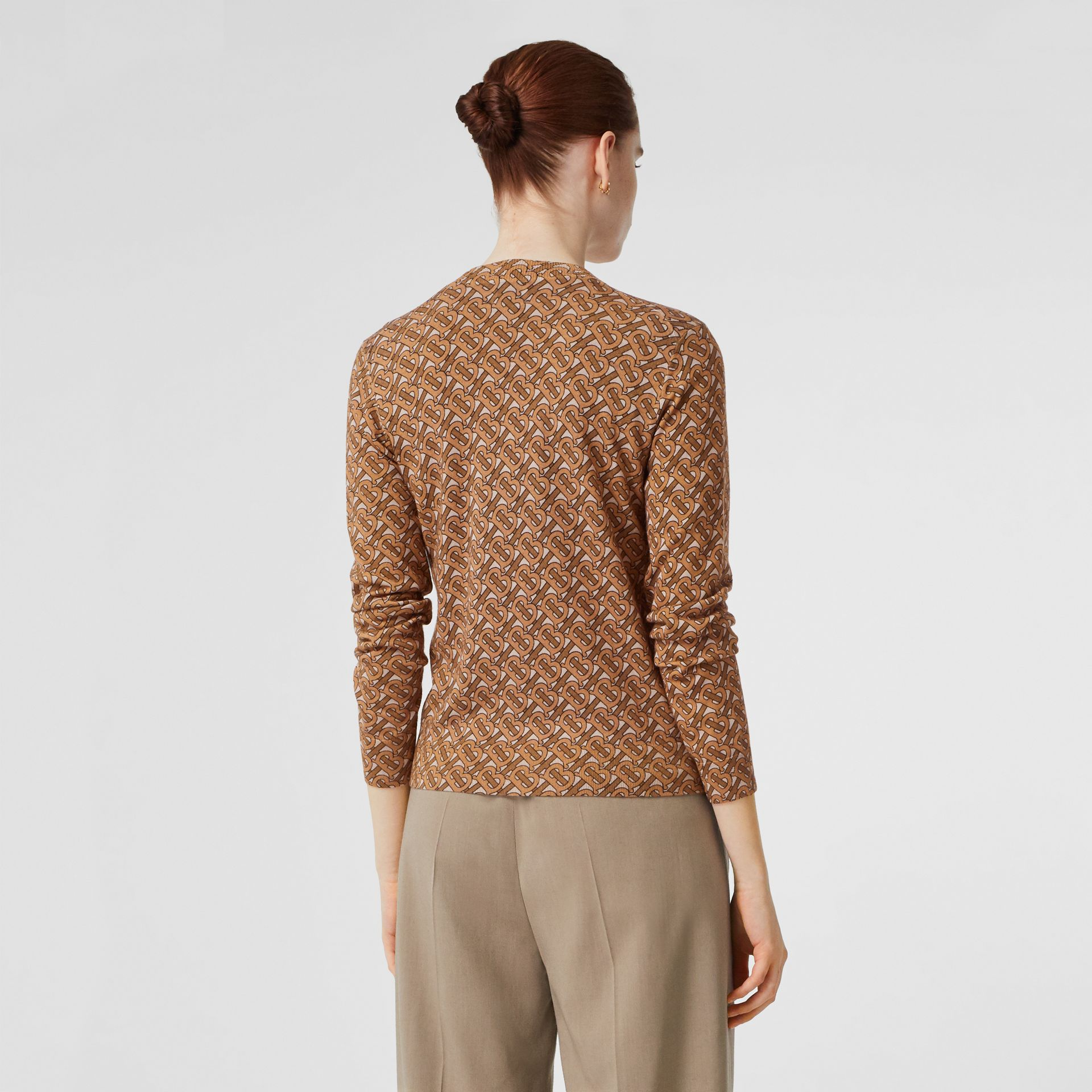 Monogram Print Merino Wool Cardigan in Beige - Women | Burberry Singapore - gallery image 2