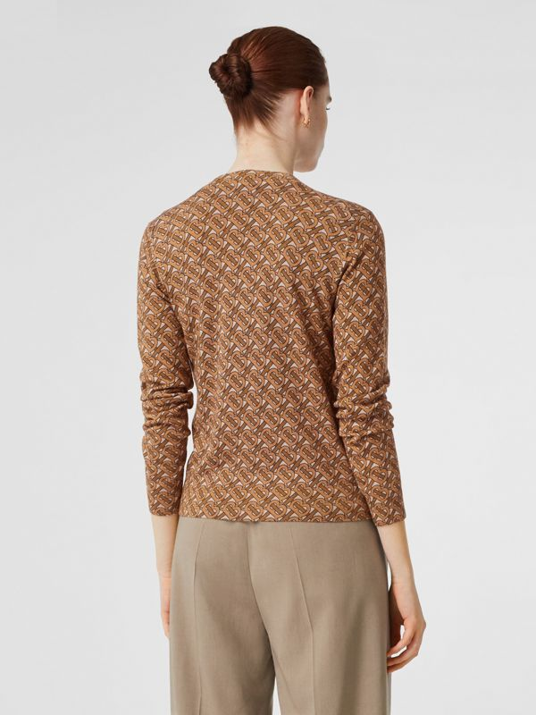 Monogram Print Merino Wool Cardigan in Beige - Women | Burberry - cell image 2