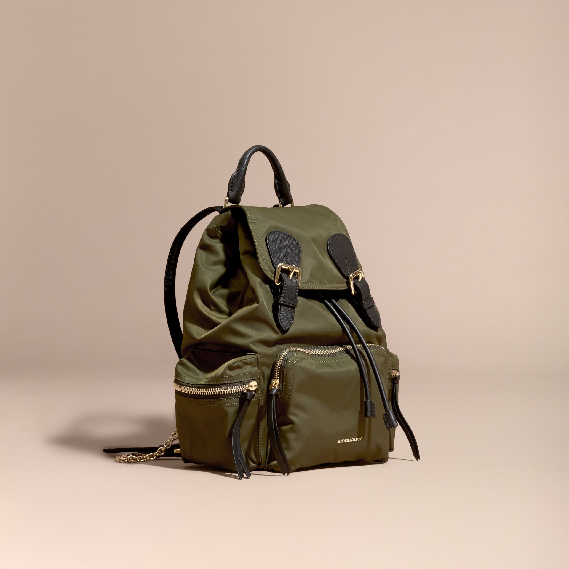 The Medium Rucksack in Technical Nylon and Leather in Canvas Green - gallery image 1