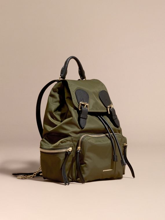 The Medium Rucksack in Technical Nylon and Leather Canvas Green