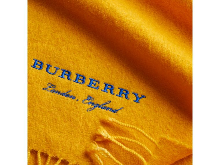 Embroidered Cashmere Fleece Scarf in Saffron Yellow | Burberry - cell image 1