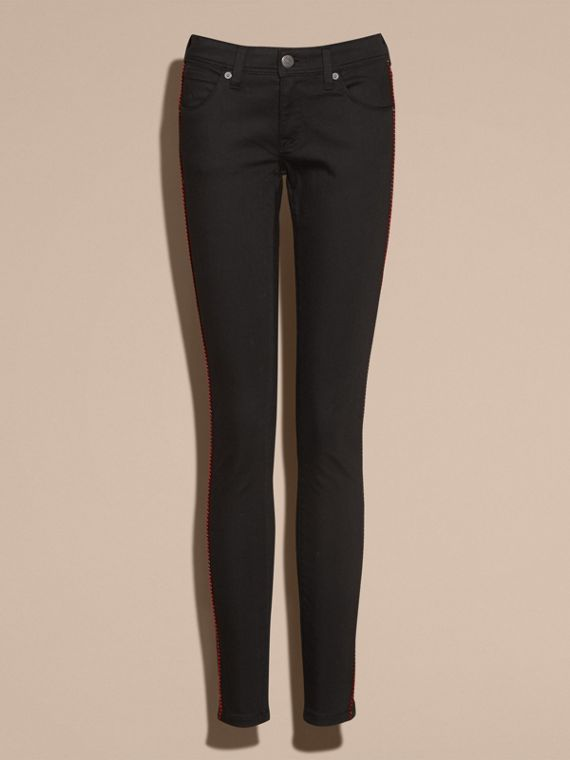 Black Skinny Fit Regimental Jeans - cell image 3