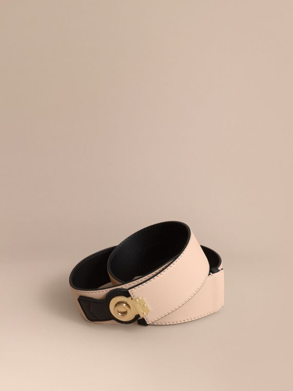 Two-tone Trench Leather Belt Limestone/ Black