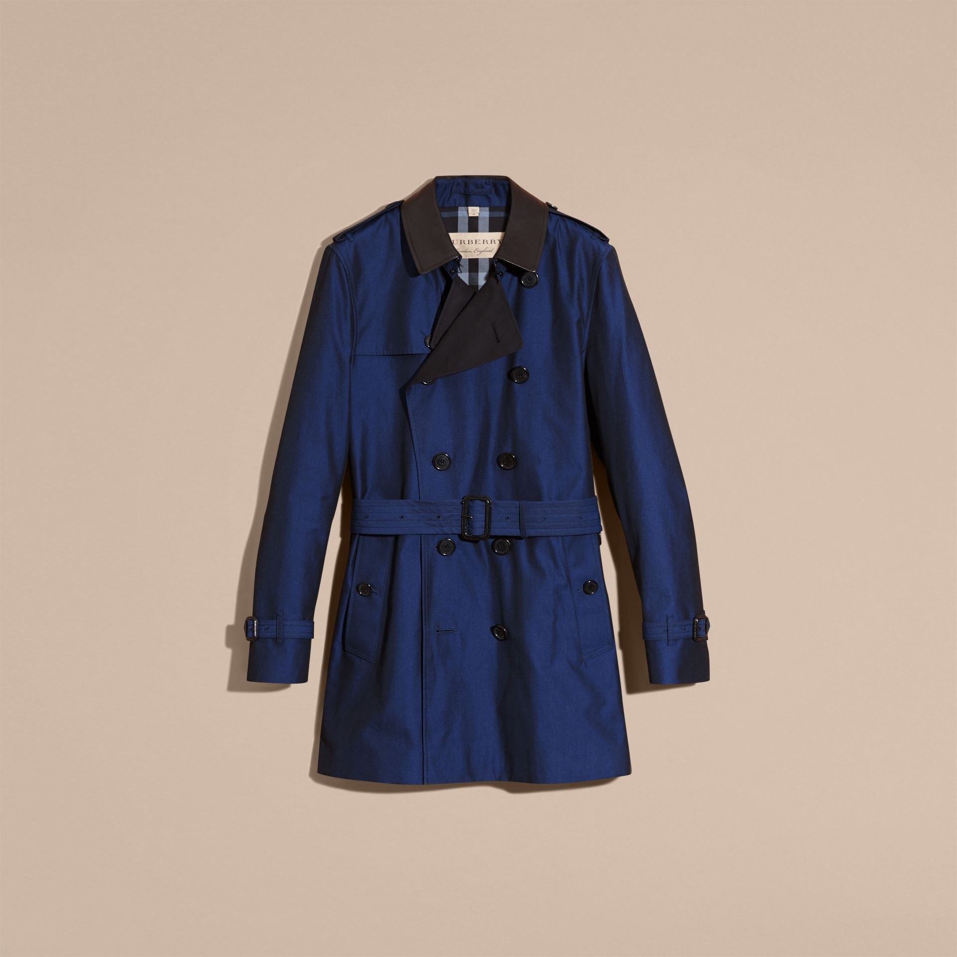 Bright regency blue Cotton Gabardine Trench Coat with Lambskin Topcollar - gallery image 4