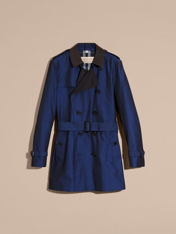 Bright regency blue Cotton Gabardine Trench Coat with Lambskin Topcollar - cell image 3