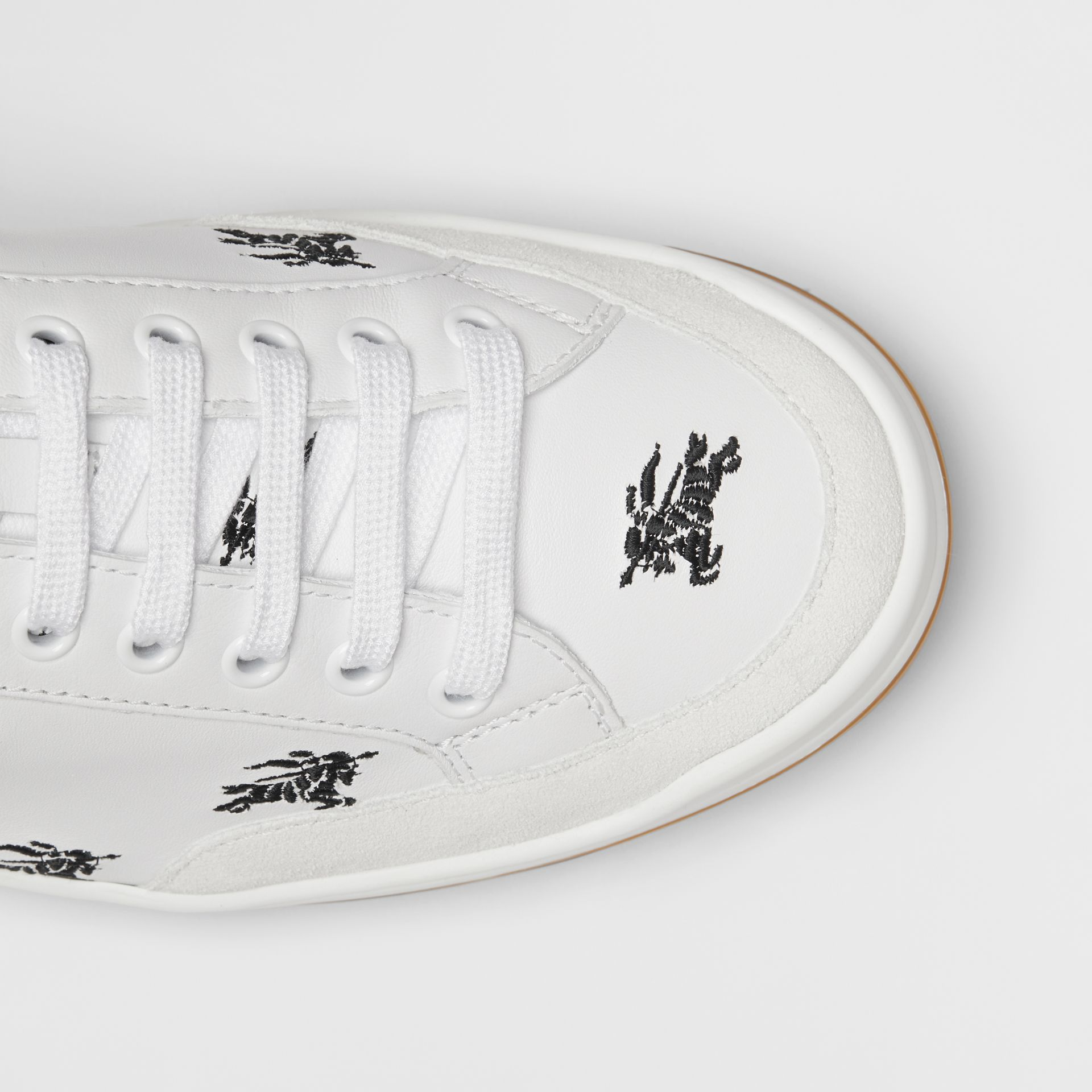 Embroidered Logo Leather Sneakers in Optic White - Men | Burberry Singapore - gallery image 1
