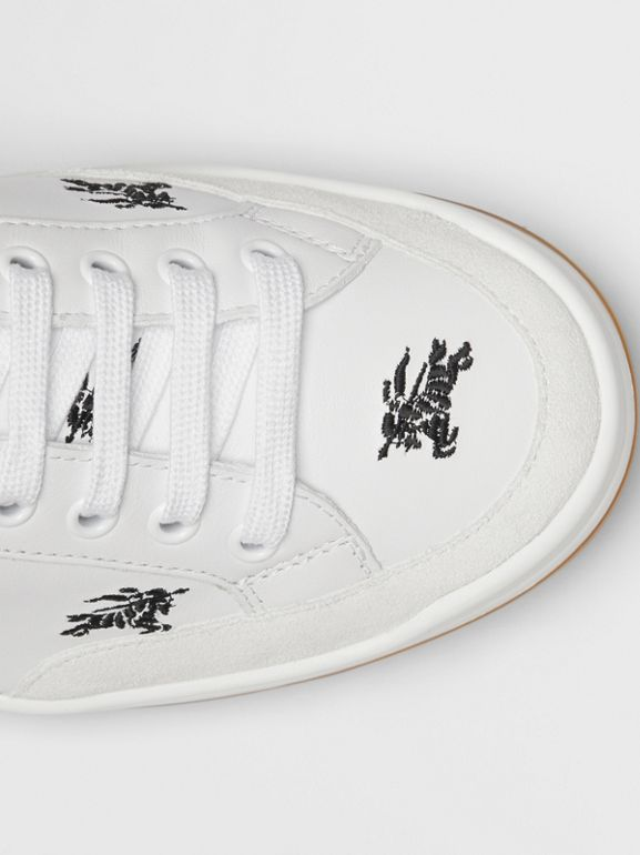 Embroidered Logo Leather Sneakers in Optic White - Men | Burberry United Kingdom - cell image 1
