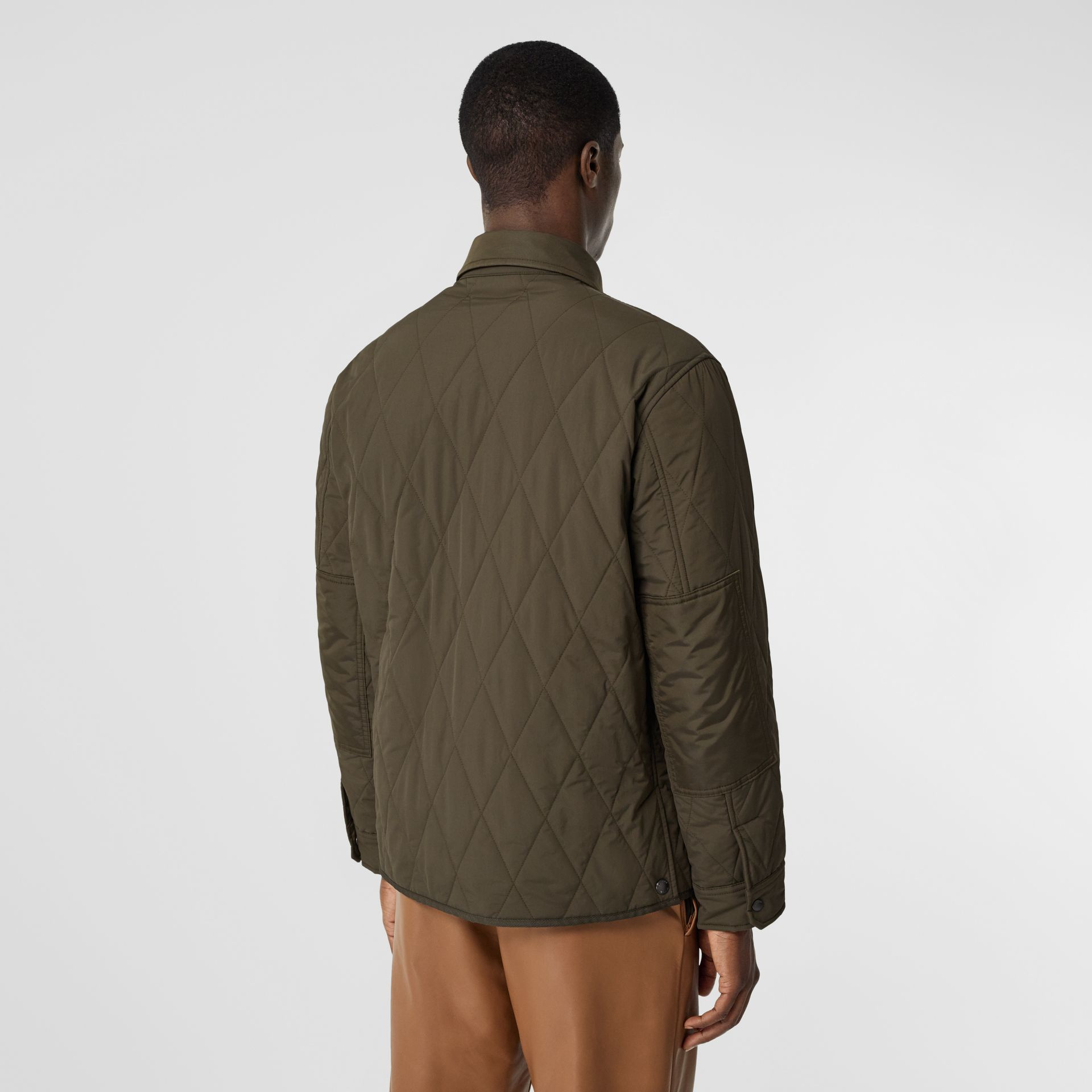 Quilted Nylon Thermoregulated Overshirt in Dark Olive Green - Men | Burberry - gallery image 2