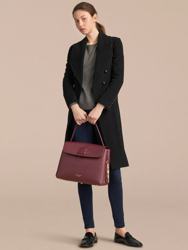 Medium Grainy Leather and House Check Tote Bag in Mahogany Red - Women | Burberry United States - cell image 3