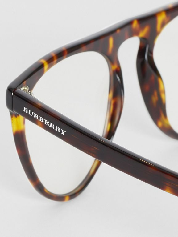 Keyhole D-shaped Optical Frames in Tortoise Shell - Men | Burberry - cell image 1