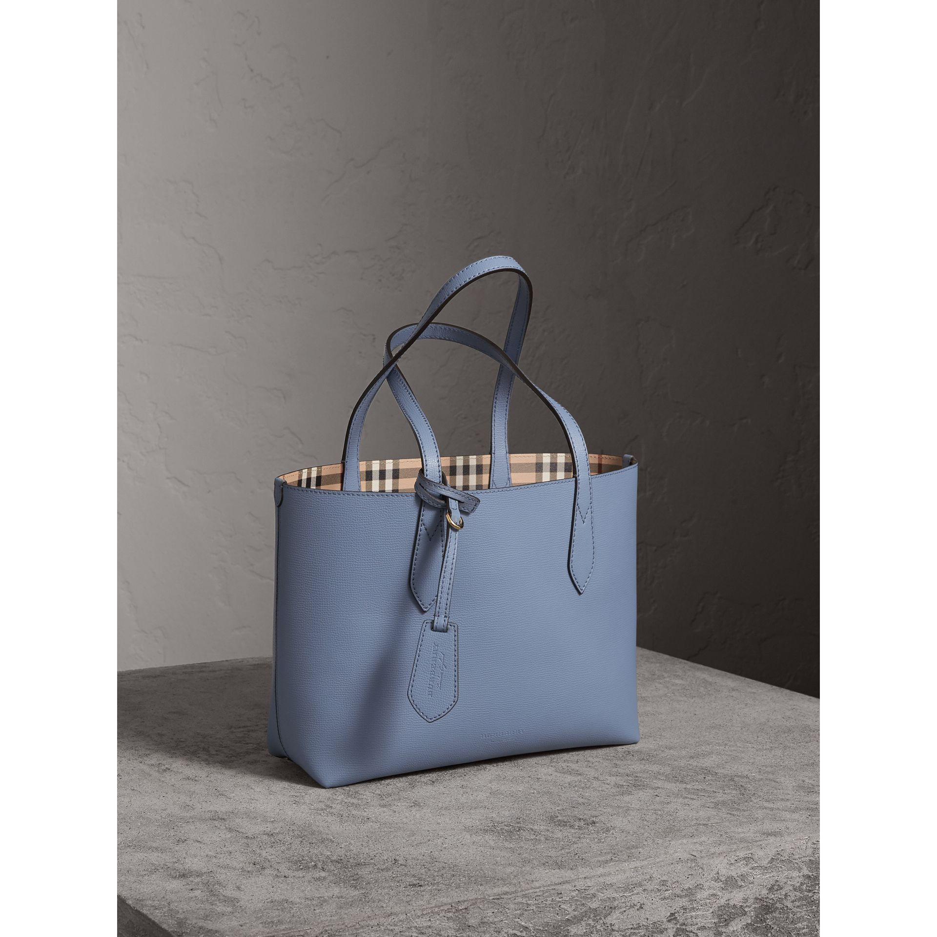The Small Reversible Tote in Haymarket Check and Leather in Slate Blue - Women | Burberry - gallery image 8
