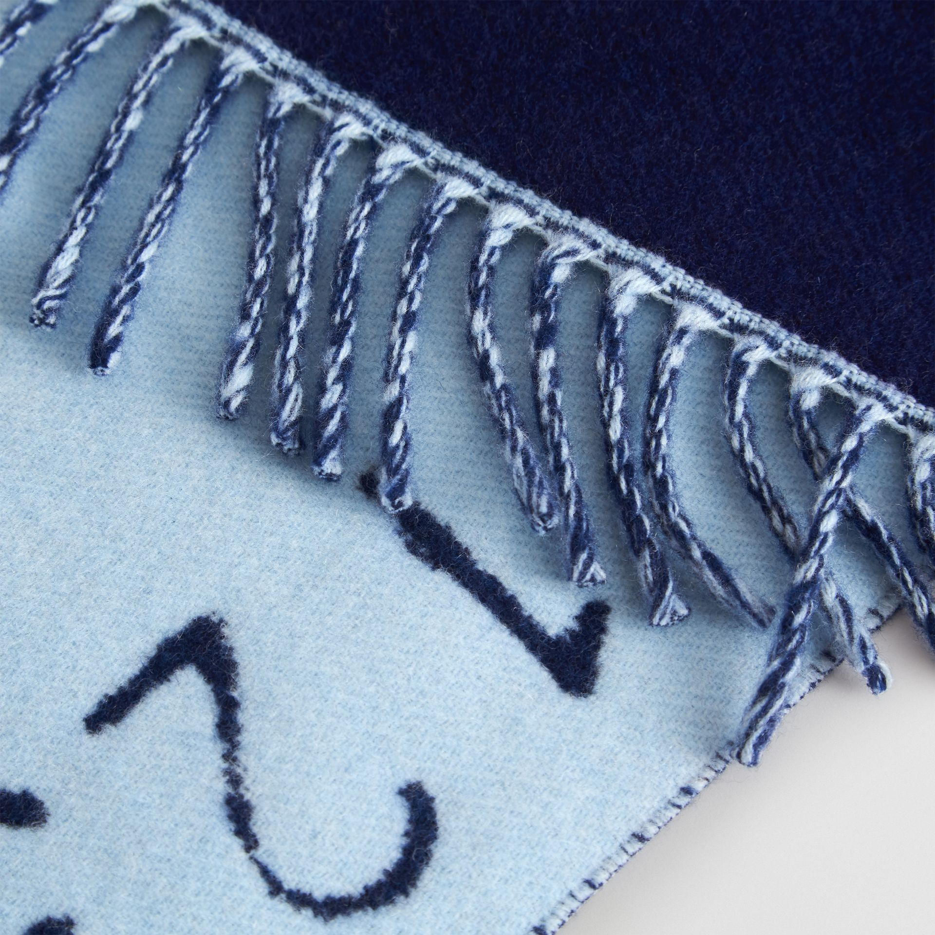 Stencil Logo Wool Cashmere Jacquard Scarf in Bright Cyan Blue - Children | Burberry - gallery image 1