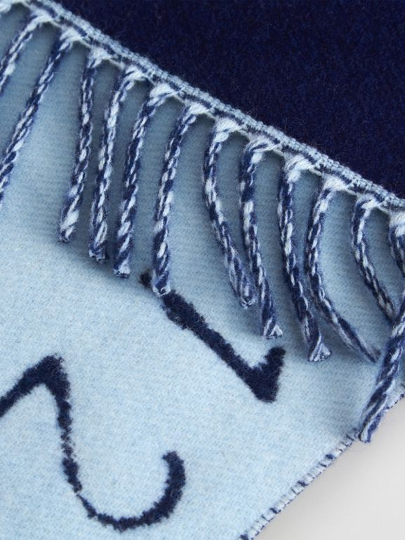 Stencil Logo Wool Cashmere Jacquard Scarf in Bright Cyan Blue - Children | Burberry - cell image 1